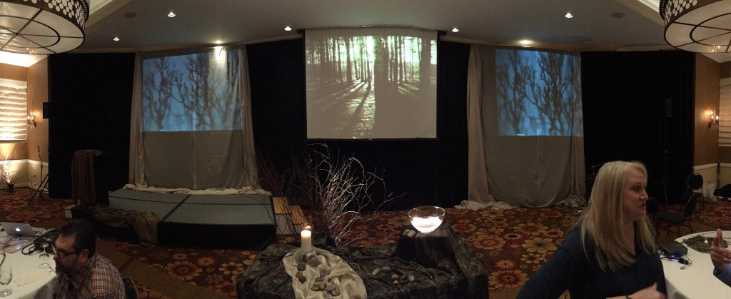 "Environmental projection for ""Gifts of the Dark Wood"" Lenten worship series."